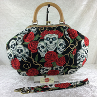 Gothic skulls and roses large fabric frame handbag purse with strap or chain