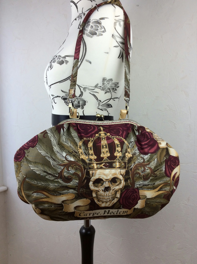 Gothic Skulls Carpe Noctem large fabric frame handbag purse with strap or chain