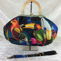 Tropical birds large fabric frame handbag purse with detachable strap or chain