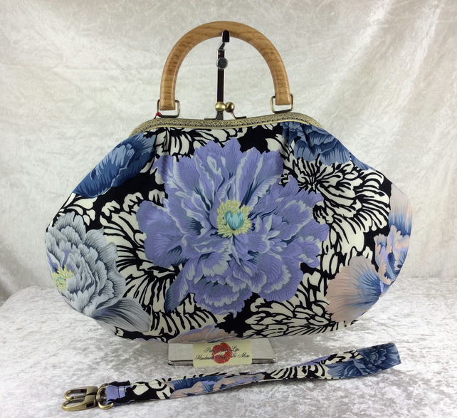 Peony flowers large fabric frame handbag purse with detachable strap or chain