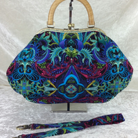 Turquoise large fabric frame handbag purse with detachable strap or chain