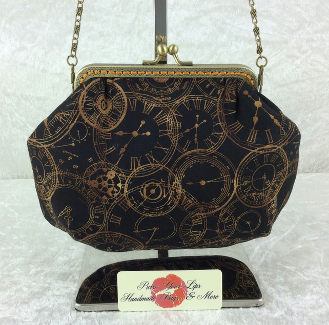 Steampunk clocks small fabric frame handbag purse clutch with chain