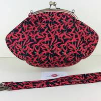 Red Chillis medium fabric frame handbag purse clutch with chain or strap
