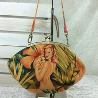 Burlesque Ladies medium fabric frame handbag purse clutch with chain or strap