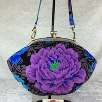 Brocade Peony flowers medium fabric frame handbag purse clutch & chain or strap