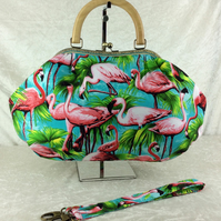 Flamingos large fabric frame handbag purse with detachable strap or chain