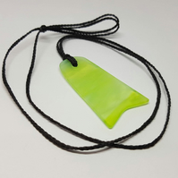 Recycled stained glass neon pendant.