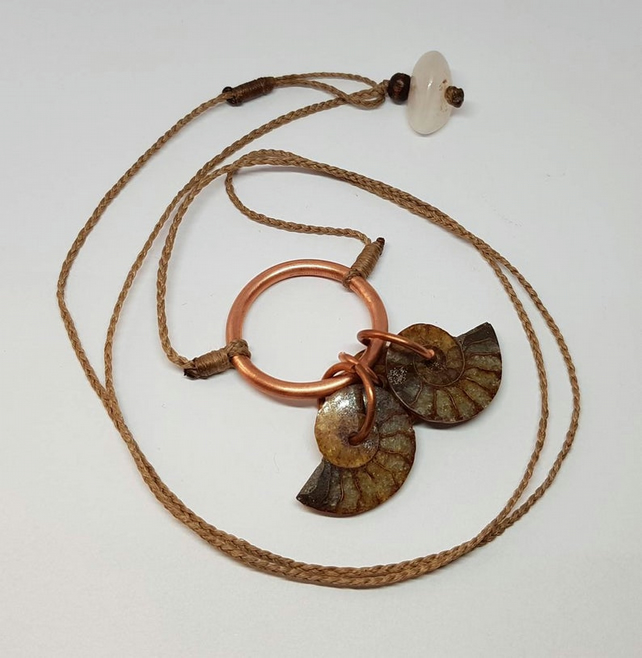 Copper and ammonite charm pendant