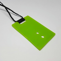 Neon green recycled stain glass pendant