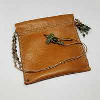 Indian Jasper and leather neck pouch
