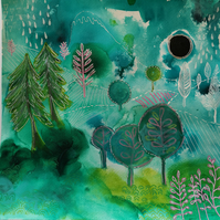 Original acrylic ink and watercolour painting on paper of an imagined landscape