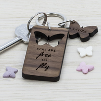 Personalised Butterfly Cut-out Keyring