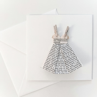 Origami Dress Card - Book pages