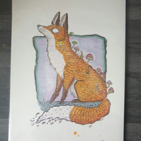 Mushroom Fox Illustration