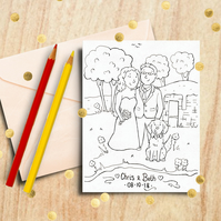 Wedding Colouring Page -Custom Wedding Coloring for kids - Digital Illustration