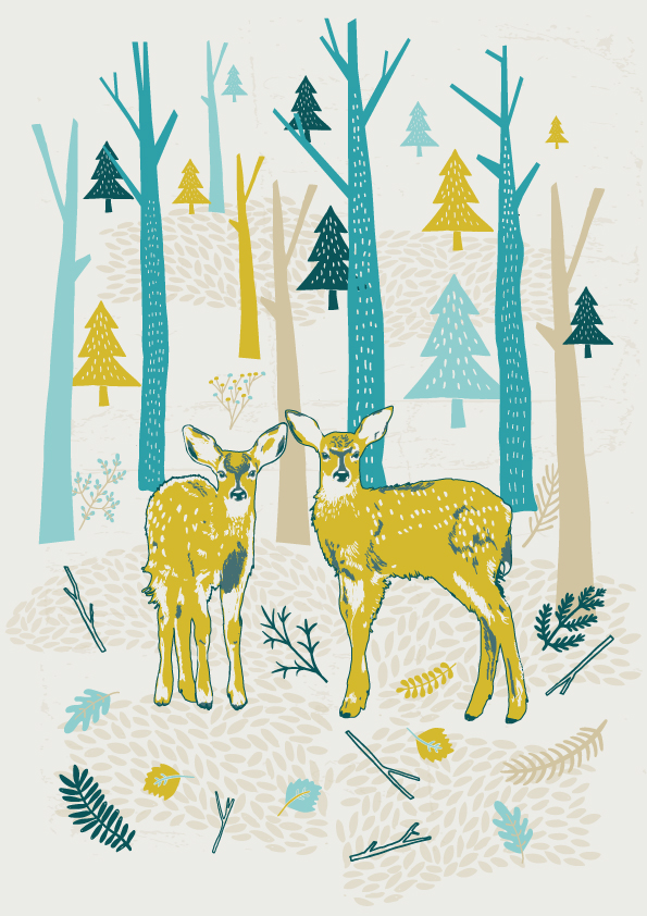 Deers in the Woods - A4 Print