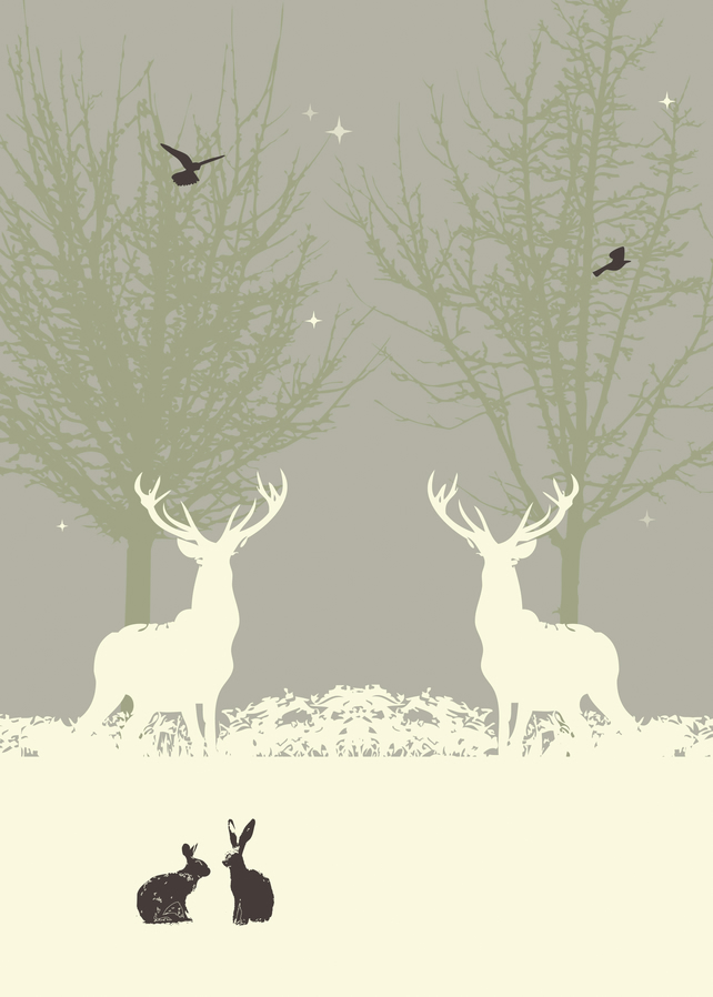 Winter Stags - A4 Print