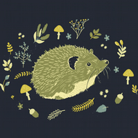 Hedgehog and Mushrooms - A4 Print