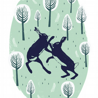 Boxing Hares - A4 Print