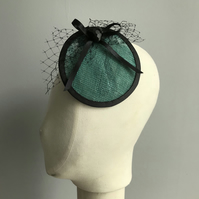 Teal and Black Heart Fascinator