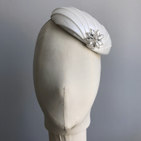 Art Deco inspired ivory cocktail hat with silver detail