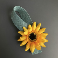 Sunflower fascinator - teal & yellow