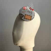 Vintage tea party fascinator - grey