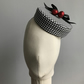 Pillbox Hat - Black and White Houndstooth with Red Cherries