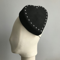 Black Felt Heart Percher Hat with Silver Details
