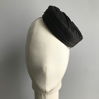Black Satin Pillbox Hat