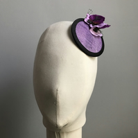 Purple and black fascinator with pansies