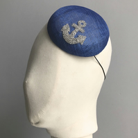 Royal Blue Button Percher Hat with a Beaded Anchor