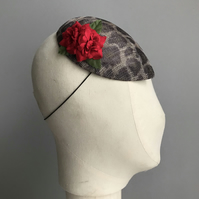 Leopard print & red rose percher hat
