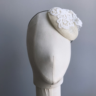 Ivory lace and netting bridal percher hat
