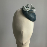 Teal and pearl button percher hat