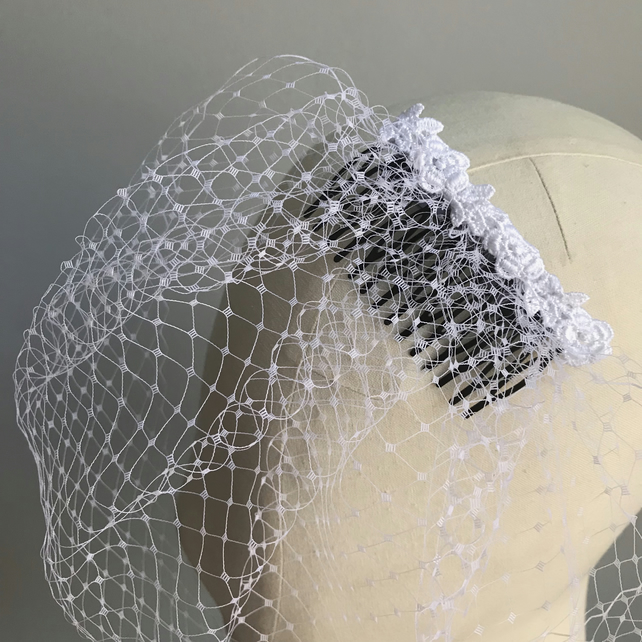 White Birdcage Veil with Floral Lace