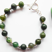 Moss Green Agate and Sterling Silver Bracelet