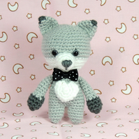 Grey Fox, Crochet Fox, Toy Fox