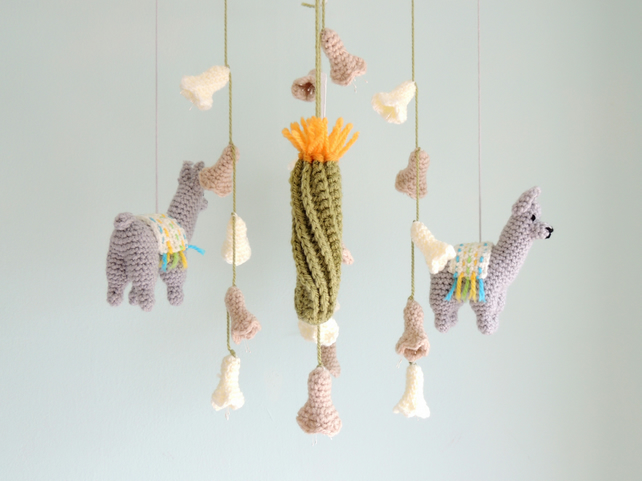 Llama Mobile, Baby Mobile, Nursery Decor