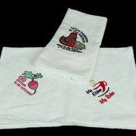 Embroidered tea towels. Beautiful embroidered tea towels