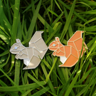 Geometric Squirrel soft enamel pins - grey or red squirrel
