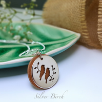 Silver and Wood Finch Necklace
