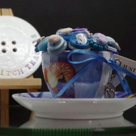 Handmade Seaside  Button Tea Cup Ornament