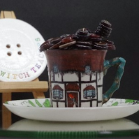 QuirkyThatched Cottage Theme Tea Cup and Saucer