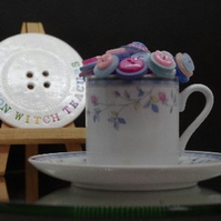 Pastel Blue and Pink Button Tea Cup Ornament