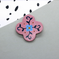 Pink Folk Art Flower Polymer Clay Brooch Pin