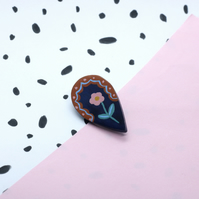 Flower Teardrop Polymer Clay Brooch Pin