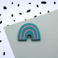 Arch Striped Rainbow Polymer Clay Brooch Pin