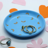 Rainbow Pattern Blue Trinket Ring Dish