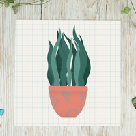 Houseplant Square Illustration Print